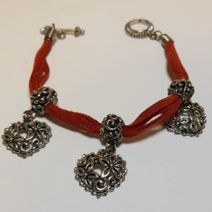 Jewelry - Red leather heart bracelet with toggle closure